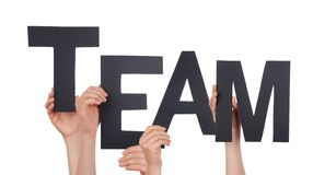 Hands Holding a Black Team. Many Hands Holding the Black Word Team, Isolated Stock Photo