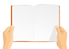 Hands holding a blank book with copy space for text. Overhead view of hands holding a blank book with copy space for text,  on white background Royalty Free Stock Photo