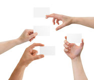 Hands holding blank business cards with copy-space Stock Photos