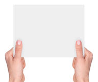 Hands holding a blank card Stock Photos