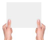 Hands holding a blank card Stock Photos