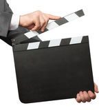 Hands holding blank clapper board Stock Photography