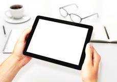 Hands holding blank digital tablet Stock Image