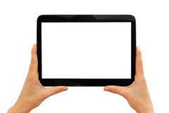 Hands holding blank digital tablet isolated on white Stock Images