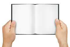 Hands Holding Blank Open Book Isolated royalty free stock photography
