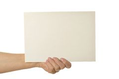 Hands holding blank paper Stock Images