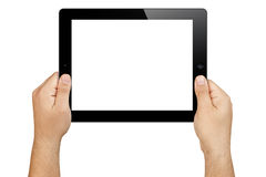 Hands Holding Blank Screen Tablet Pc. Male hands holding black electronic tablet pc in landscape orientation with blank white screen displayed towards the camera Stock Images
