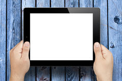 Hands Holding Blank Screen Tablet Pc Wooden Stock Photos