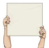 Hands holding a blank sign. Hand drawn hands holding a blank sign Stock Photo