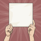 Hands holding a blank sign Royalty Free Stock Photo