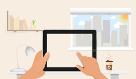 Hands holding Blank tablet pc without screen on the table in home office. Window, night cite, books, lamp and coffee on the backgr. Ound. Vector illustration Stock Images