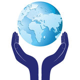 Hands holding a blue earth vector hope illustration. Save planet concept. Royalty Free Stock Photography