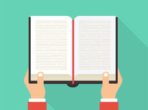 Hands holding book. Reading book concept. Book icon in flat style. Vector stock royalty free illustration