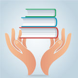 Hands holding books design vector, education concept. Illustration Stock Image