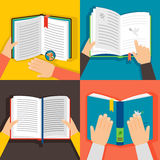 Hands holding books. Vintage paper book library vector illustration Royalty Free Stock Photography