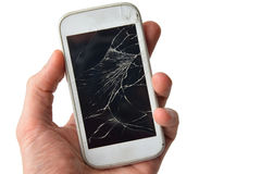 Hands holding broken mobile smartphone, isolated on white.  royalty free stock photos
