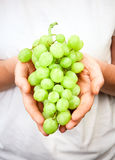 Hands Holding A Bunch of Fresh Grapes Royalty Free Stock Photo