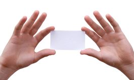 Hands holding business card. Hands holding up blank business card with white background Stock Photo