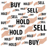 Hands is holding Buy word ,Hold word and Sell word Stock Photography