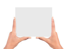 Hands holding card. Isolated on white background Stock Images