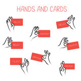 Hands holding cards for advertising set Royalty Free Stock Photo