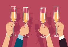 Free Hands Holding Champagne Glasses. People Celebrate Corporate Christmas Party With Alcohol Drinks Anniversary Event Flat Stock Photography - 161053062