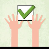Hands holding check mark Stock Image