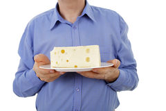 Hands holding cheese Stock Photo