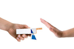 Hands holding cigarettes Stock Photography