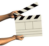 Hands Holding Clapboard - with clipping path. 3D render of hands holding a clapboard Royalty Free Stock Photo