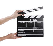 Hands holding a clapper board Stock Photo