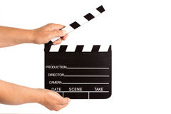 Hands holding clapperboard Royalty Free Stock Photo