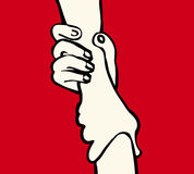 Hands holding. Clasped hands holding on to each other stock illustration