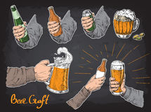 Hands holding and clinking with beer glasses mug bottle royalty free illustration