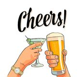 Hands holding and clinking two glasses with beer and cocktail. Stock Image