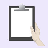 Hands Holding a Clipboard. An illustration of a hand holding a clipboard royalty free illustration