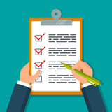 Hands holding clipboard with checklist. Hands holding clipboard with checklist and pen. EPS10 vector illustration in flat style Royalty Free Stock Image