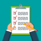 Hands holding clipboard with checklist. Hands holding clipboard with checklist and pencil. EPS10 vector illustration in flat style Stock Photos