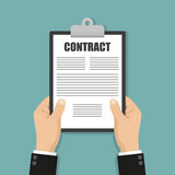 Hands holding clipboard with contract document in a flat design Stock Photography