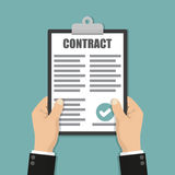 Hands holding clipboard with contract document in a flat design. Hands  holding clipboard with contract document in a flat design Stock Image