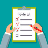 Hands holding clipboard with to-do list. Hands holding clipboard with to-do list template and pencil. EPS10 vector illustration in flat style Stock Photos