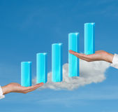 Hands holding column chart Stock Photo