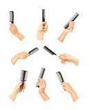 Hands holding combs and brushes Stock Images