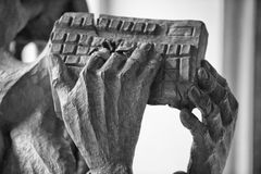 Hands holding computer keyboard. In black and white royalty free stock images
