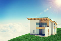 Hands holding cottage in clouds with windows Royalty Free Stock Image