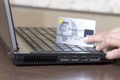 Hands holding credit card, online shopping. Concept Royalty Free Stock Photos