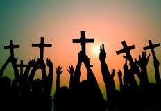 Hands Holding Cross Christianity Religion Faith Concept.  Stock Photos