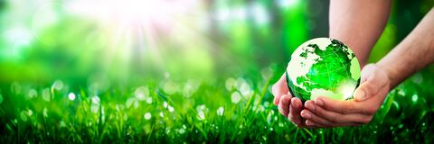 Hands Holding Crystal Earth In Lush Green Environment With Sunlight