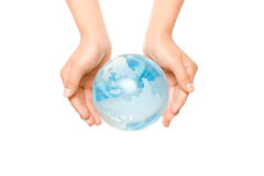 Hands Holding Crystal Globe. Hands holding a translucent crystal or glass globe isolated on white Stock Images