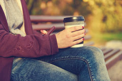 Hands holding cup of coffee Royalty Free Stock Image